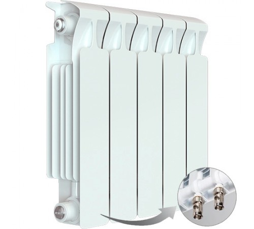 Биметаллический радиатор Rifar Monolit Ventil 500 (5 секций, нижнее правое подключение)